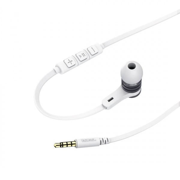 Casti Audio Hama Intense In-Ear Microfon Cablu Plat Alb/Gri 42506811