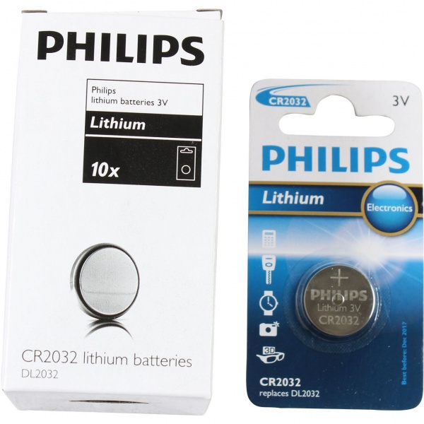 Set 10 Buc Baterie Philips Litiu CR2032/01B 3V