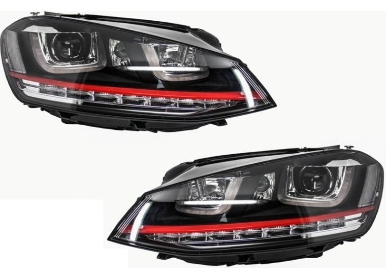 Set Faruri Dreapta + Stanga Am Volkswagen Golf 7 2012→ 3D LED R20 GTI Design HLVWG7GTILED