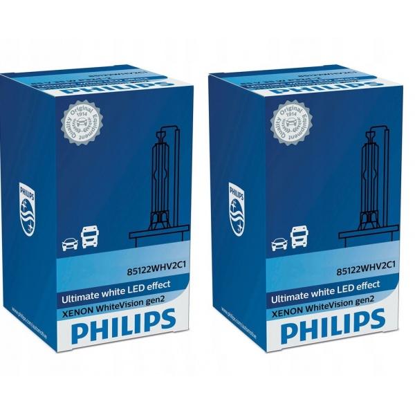 Set 2 Buc Bec Xenon Philips D2S 35W 85V P32d-2 White Vision Gen 2 85122WHV2C1