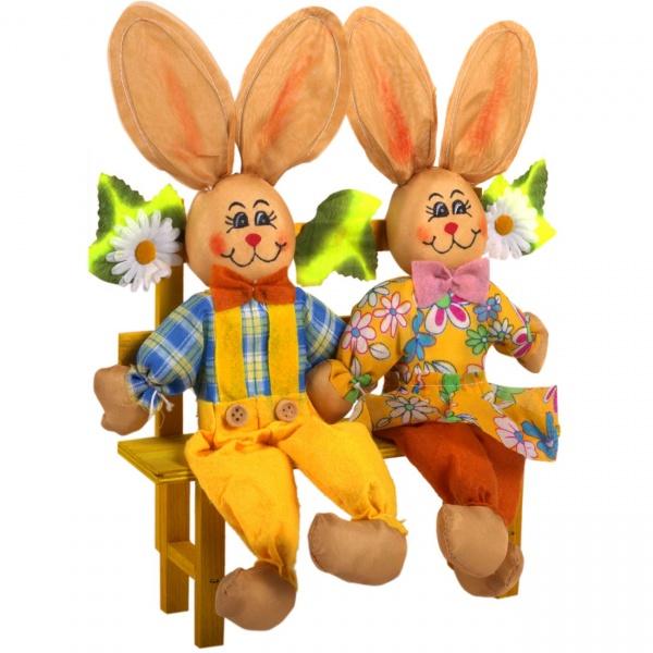 Figurina Decorativa De Paste Iepurasi Pe Banca 31CM 1148513
