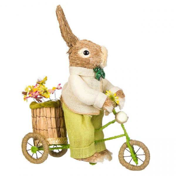 Figurina Decorativa De Paste Iepuras Pe Bicicleta 42CM 1160757