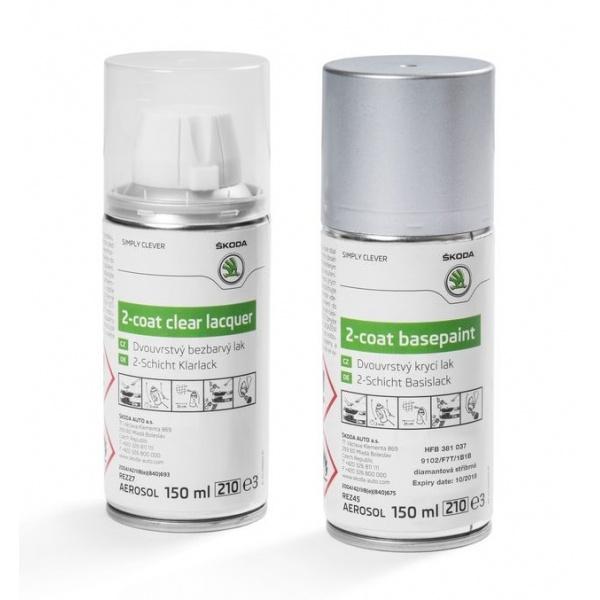Set Spray Vopsea + Lac Oe Skoda Diamant Silver 9102/F7T/1B1B HFB381037