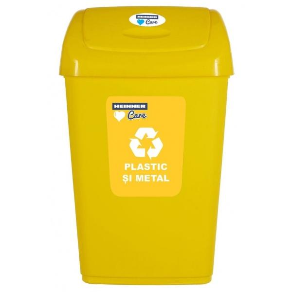 Cos Gunoi Pentru Reciclare Selectiva Cu Capac Batant Heinner 50L Galben 31522709