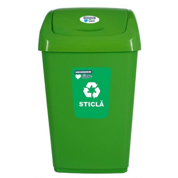 Cos Gunoi Pentru Reciclare Selectiva Cu Capac Batant Heinner 50L Verde 31522710
