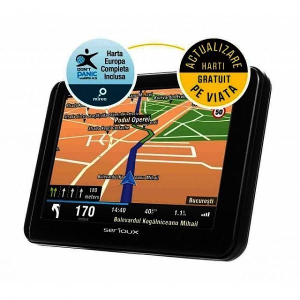 "Navigatie Serioux Urban Pilot 256MB Ram 5.0"" Harta Europei Mireo Don't Panic + Actualizari Pe Viata A Hartilor UPQ500FE"
