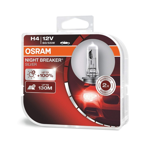 Bec Osram H4 12V 60/55W Night Breaker Silver 64193NBS-HCB Set 2 Buc