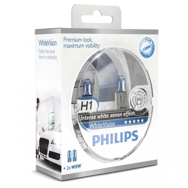 Bec Philips H1 12V 55W Whitevision 4300K Set 2 Buc 12258WHVSM
