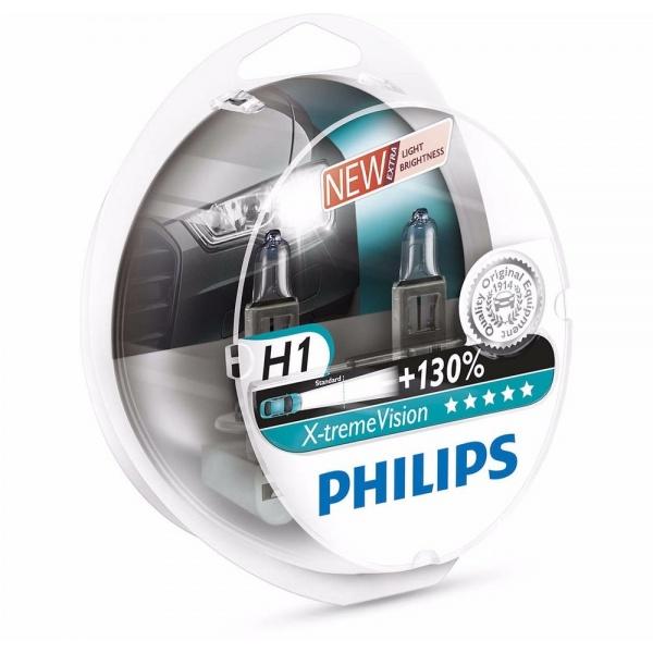 Bec Philips H1 12V 55W Xtremevision +130% Set 2 Buc 12258XV+S2