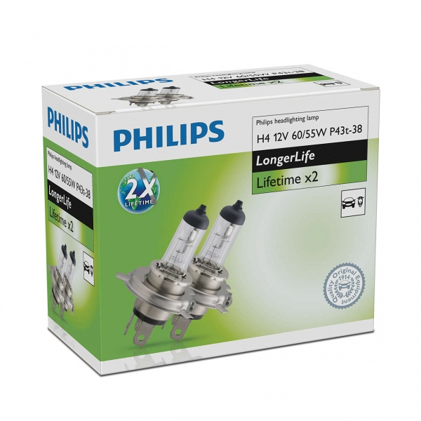 Bec Philips H4  P43T 12V 60/55W Longer Life 2 Buc 12342ELC2
