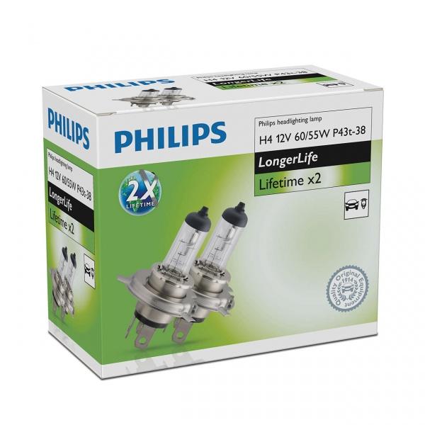 Bec Philips H4 P43T 12V 60/55W Longer Life 2 Buc 12342ELC2