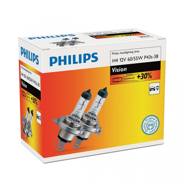 Bec Philips H4  P43T 12V 60/55W 2 Buc 12342PRC2