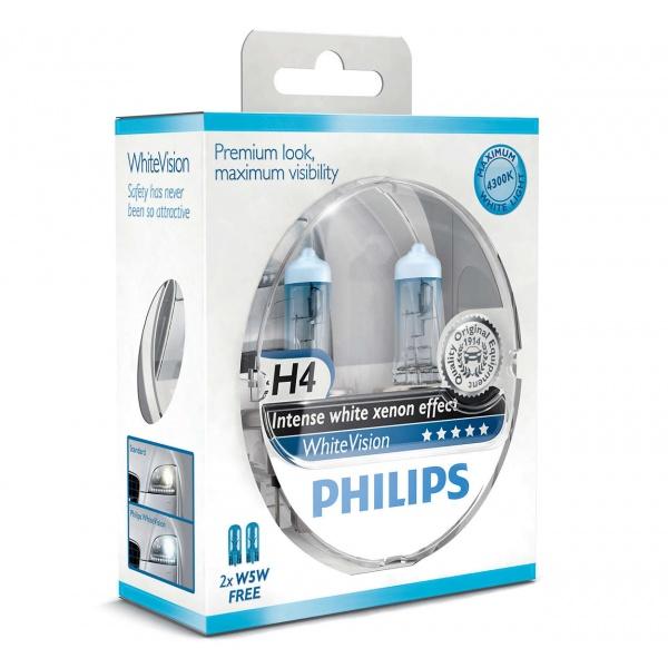 Bec Philips H4 P43T 12V 60/55W Whitevision Set 2 Buc 12342WHVSM