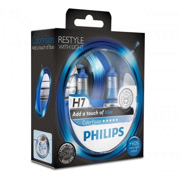 Bec Philips H7 12V 55W Colorvision Albastru +60% Set 2 Buc 12972CVPBS2