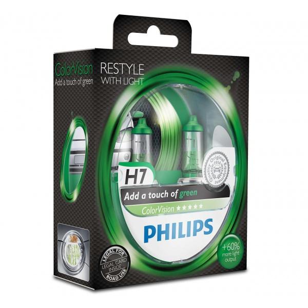 Bec Philips H7 12V 55W Colorvision Verde +60% Set 2 Buc 12972CVPGS2