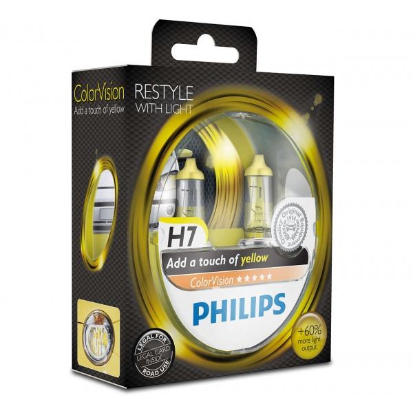 Bec Philips H7 12V 55W Colorvision Galben +60% Set 2 Buc 12972CVPYS2