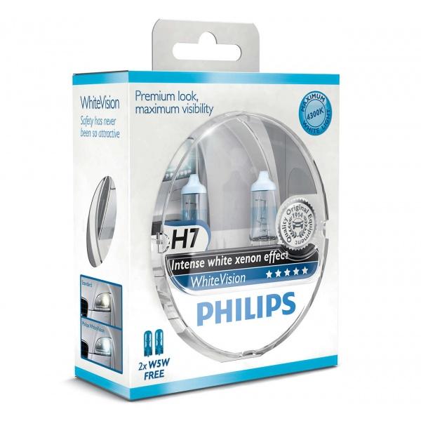 Bec Philips H7 12V 55W Whitevision 4300K Set 2 Buc 12972WHVSM