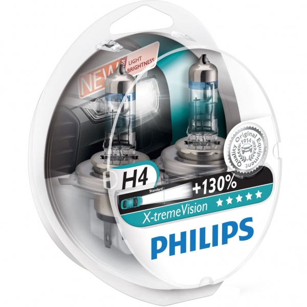 Bec Philips H4 P43T 12V 60/55W Xtremevision +130% Set 2 Buc 12342XV+S2