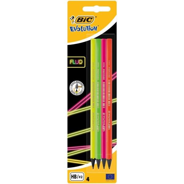 Bic Creion Grafit Evolution Fluo Fara Radiera Bl/4 32521522