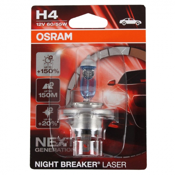 Bec Osram H4 P43T 12V 60/55W Night Breaker Laser Next Generation +150% 64193NL-01B