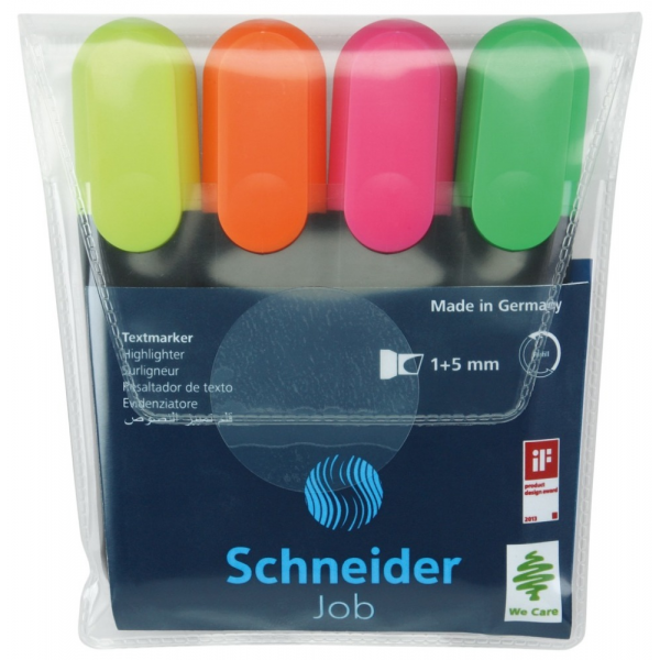 Schneider Textmarker Job Set 4 Bucati Asortate 36000464