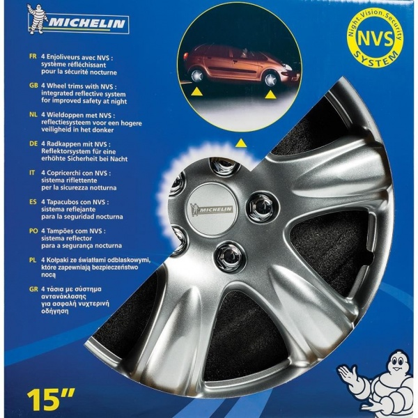 "Set Capace Roti Night Vision Security System Michelin 4 Buc Argintiu 13"" 92365"