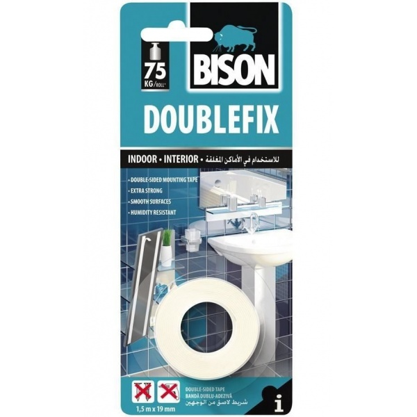 Bison Double Fix Banda Dubla Adeziva Alba 1,5MX19MM 400027