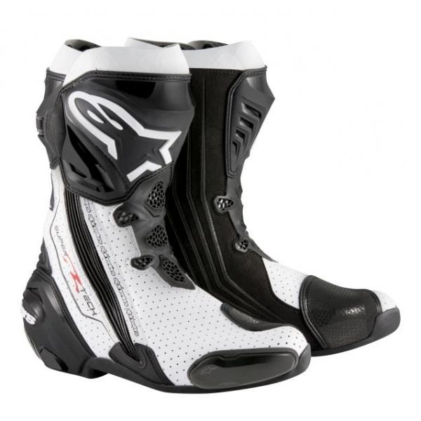 Cizme Piele Moto Alpinestars Supertech R Wentylowane Negru / Alb Marimea 50 2220015/122/39