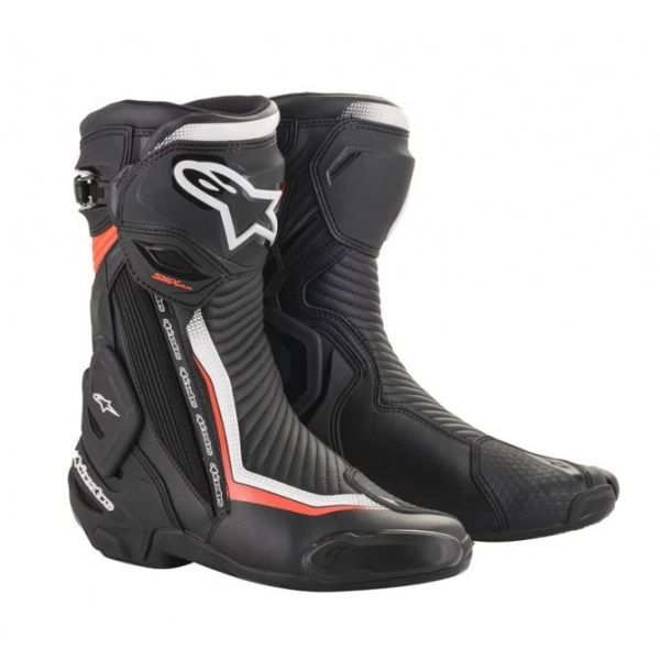 Cizme Piele Moto Alpinestars Smx Plus V2 Negru / Fluorescent / Rosu / Alb Marimea 42 2221019/1231/42