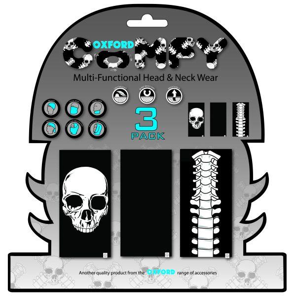 Esarfa Moto Oxford Skeleton Negru / Albastru / Gri NW105-OX