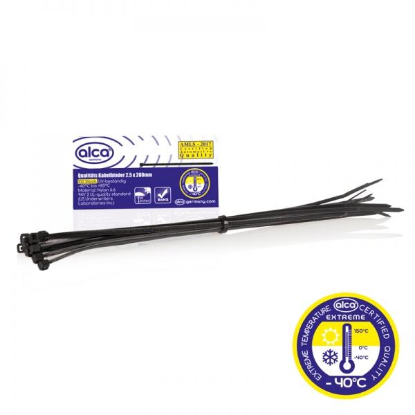Coliere Nylon Negre Alca 2.5X200 MM Set 100 Buc 613200
