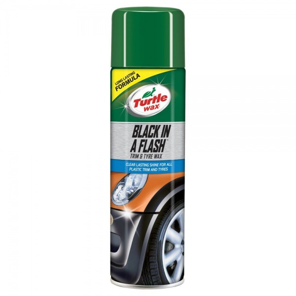 Turtle Wax Spray Curatat Plastic Exterior Si Anvelope Black In A Flash 500ML FG51777