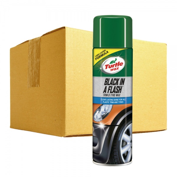Pachet 12 Buc Turtle Wax Spray Curatat Plastic Exterior Si Anvelope Black In A Flash 500ML FG51777