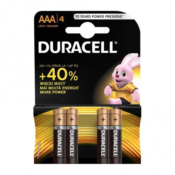 Set X 4 Baterii AAA LR03 Duracell 32002526
