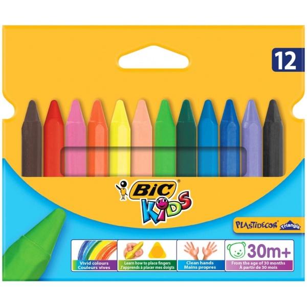 Bic Creioane Cerate Plastifiate Plastidecor Triunghiulare 12 Culori 32019696