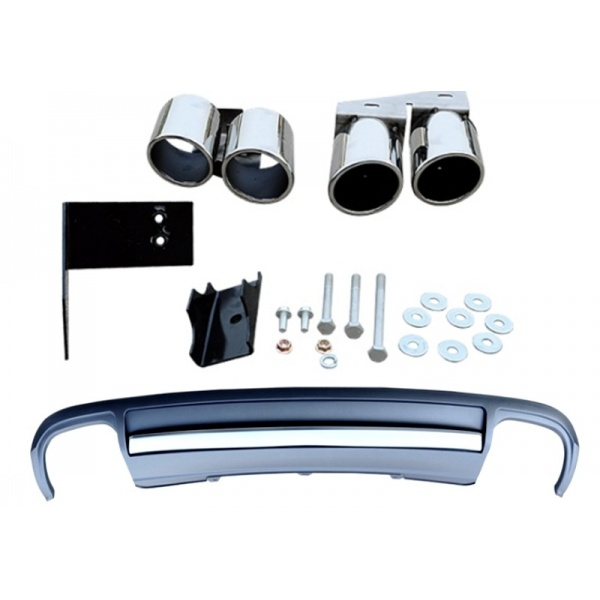 Difuzor Bara Spate + Ornament Esapament Toba Compatibil Audi A4 B8 2013-2015 Facelift Pentru Bara S-line 002