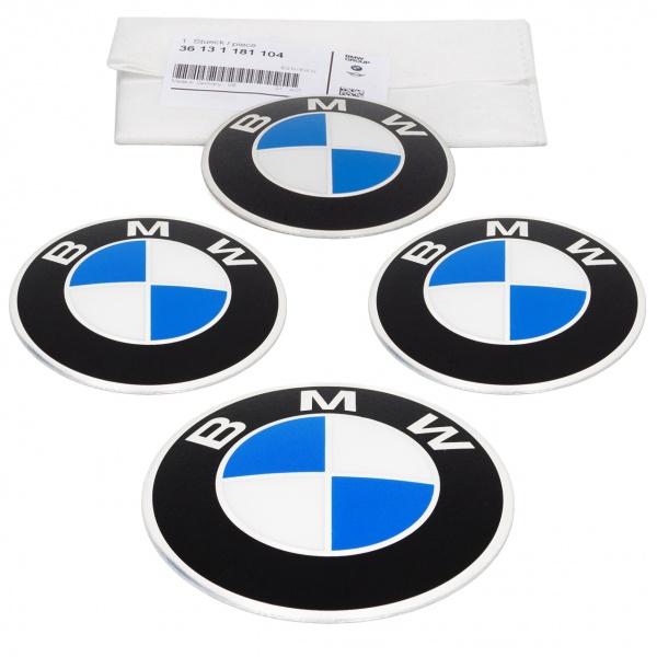 Set 4 Buc Emblema Autocolant Capac Janta Oe Bmw Seria 5 E12 1972-1981 82 MM 36131181104