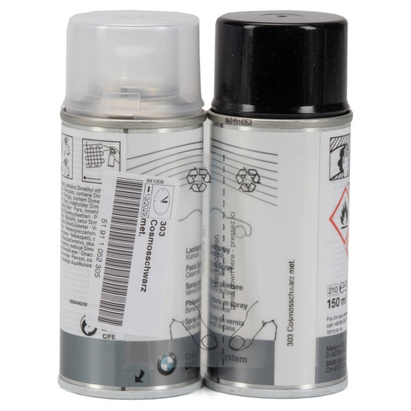 Set Spray Vopsea + Lac Oe Bmw Negru Black 303 150ML 51911052305